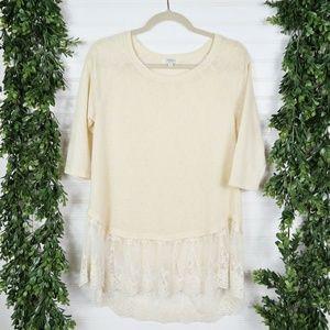 umgee Hi Lo Lace Hem Lightweight Knit Top - Size S